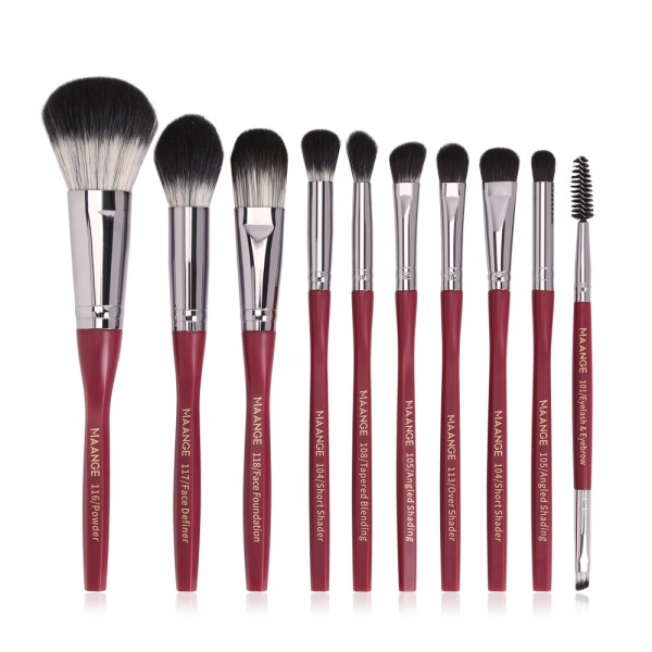 Set 10 Pensule Machiaj Profesionale Ultra Soft and Care Burgundy